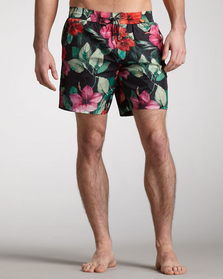 Floral-Print Swim Trunks, Black