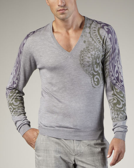 Paisley-Stamped Sweater