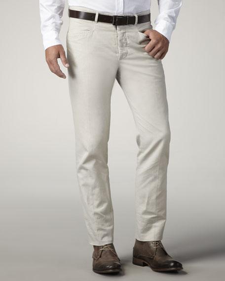 Slim Cotton-Linen Trousers, Beige