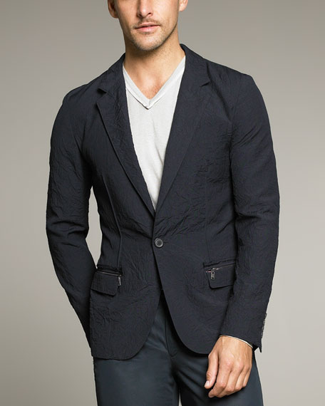 One-Button Crinkled Wool Jacket