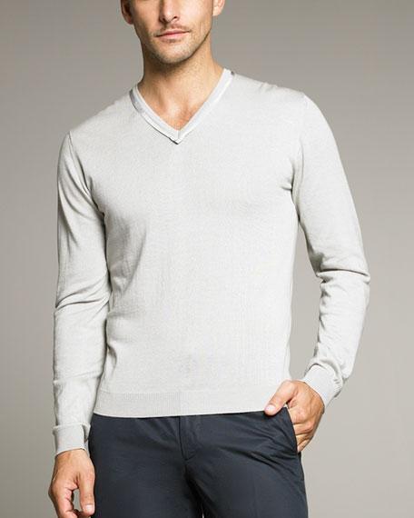 Ribbon-Detail V-Neck Sweater