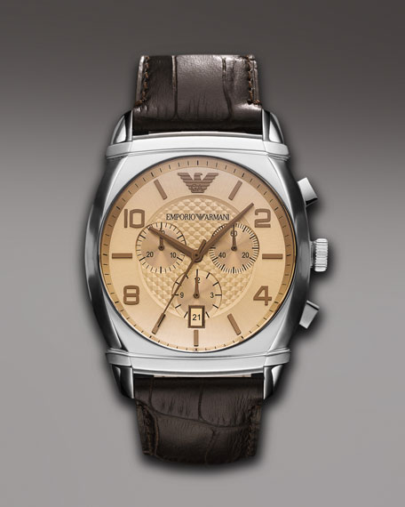 Embossed Strap Chronograph Watch, Brown