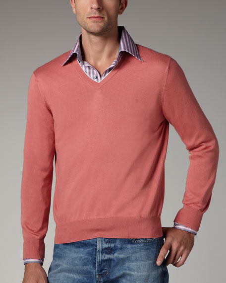 Contrast-Inset Sweater, Coral