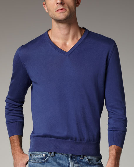 Contrast-Inset Sweater, Blue