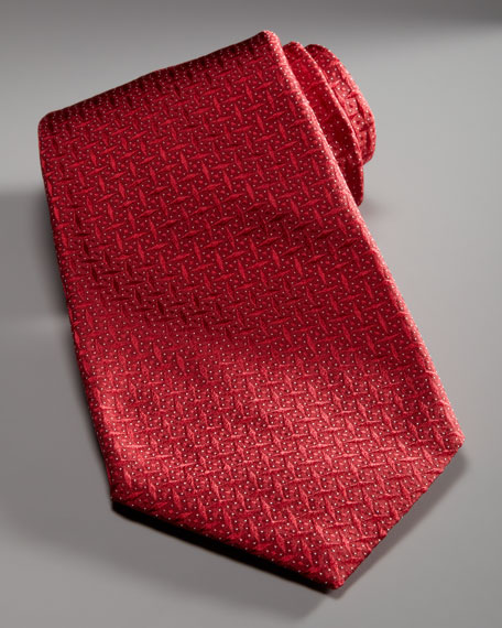 Textured Geometric Tie, Red