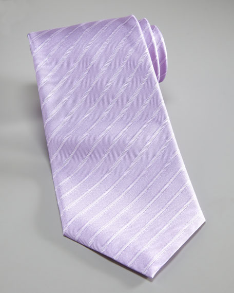 Striped Silk Tie, Lavender