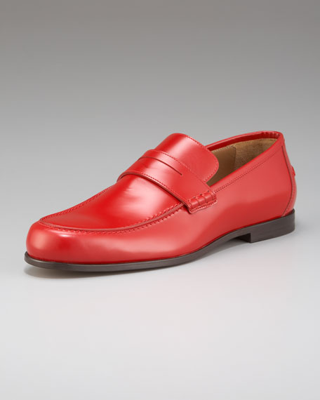 Shiny Leather Penny Loafer