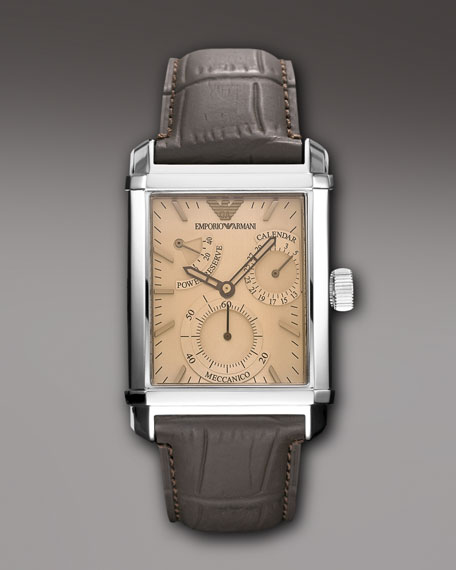 Embossed-Strap Rectangular Watch