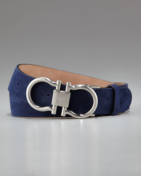 Double-Gancini Suede Belt, Blue