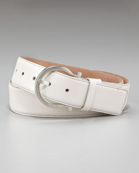 Large Gancini-Buckle Belt, White