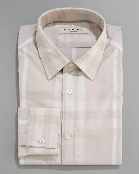 Tonal Check Dress Shirt, Trench
