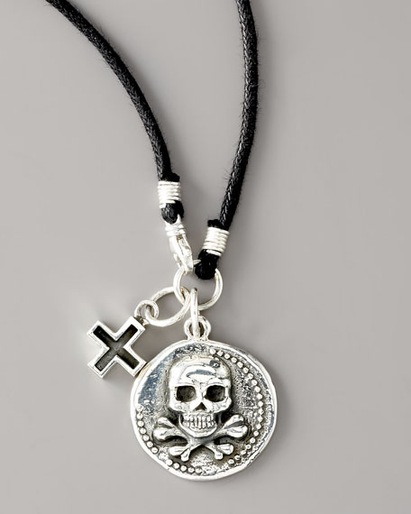 Skull Coin Cord Necklace