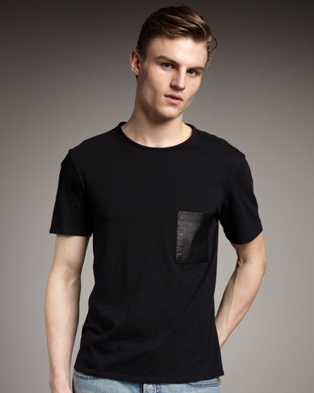 Leather-Pocket Tee