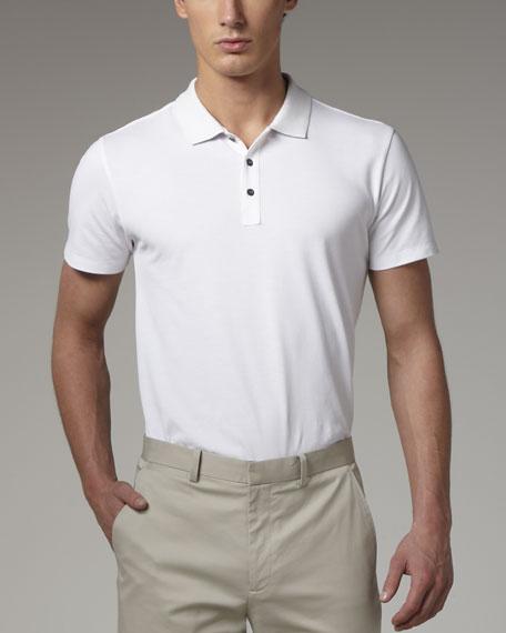 Classic Pique-Knit Polo, White