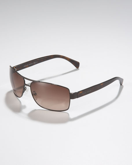 Square Metal Sunglasses, Brown