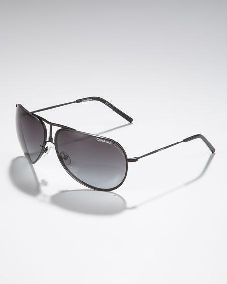 Metal Aviator Sunglasses, Matte Black