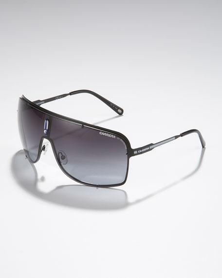 Metal Shield Sunglasses, Matte Black