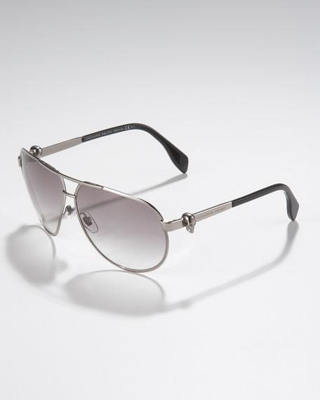 Skull Aviator Sunglasses, Ruthenium