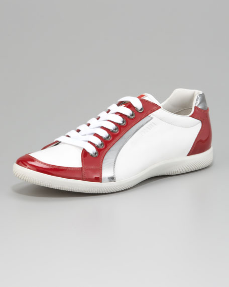 Lace-Up Sport Sneaker with Stripe, White/Red
