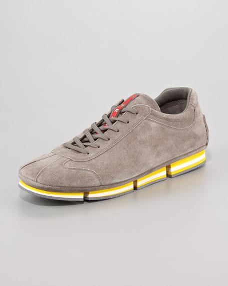 Contrast-Bottom Suede Sneaker