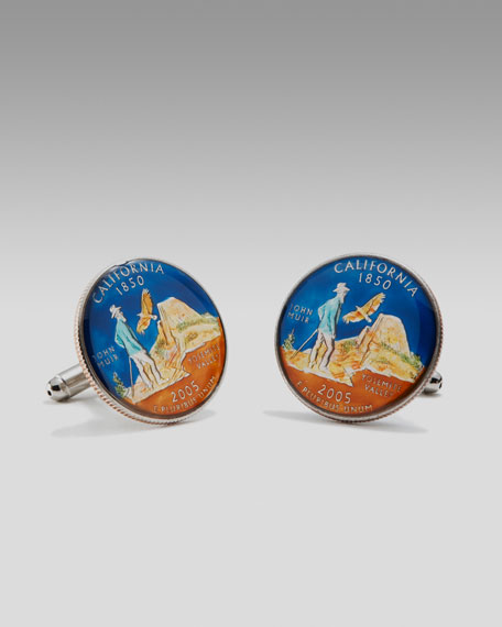 California Quarter Cuff Links