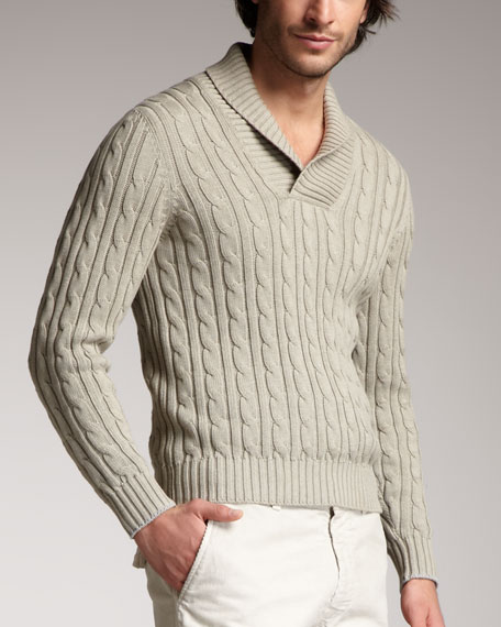 Shawl-Collar Cable Sweater