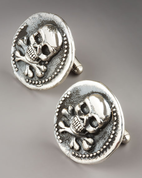 Vintage Skull-Coin Cuff Links