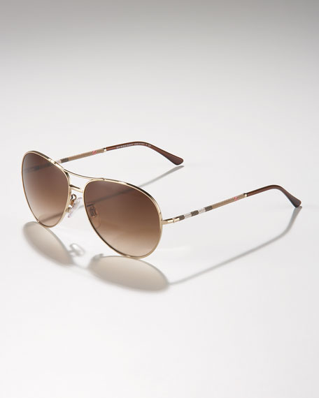 Check-Temple Aviator Sunglasses, Pale Golden