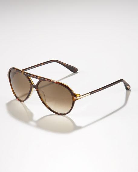 Leopold Plastic Aviator Sunglasses, Dark Havana