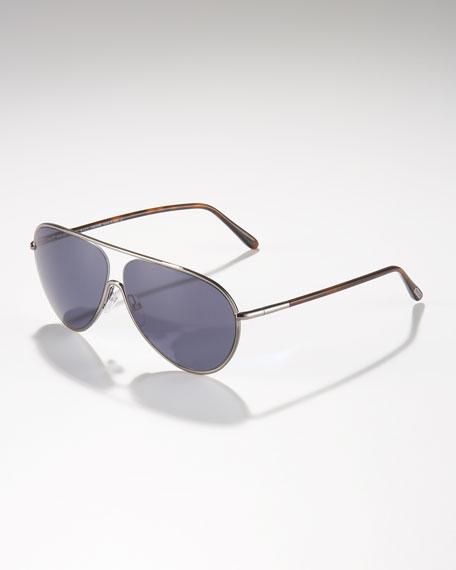 Cecilio Aviator Sunglasses, Shiny Gunmetal