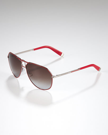 Metal Aviator Sunglasses, Red