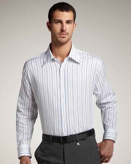 City Fit Striped Shirt, Royal Blue