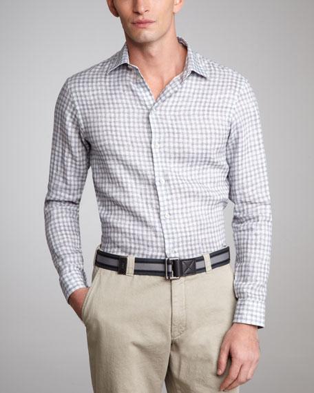 Geometric-Print Linen Shirt