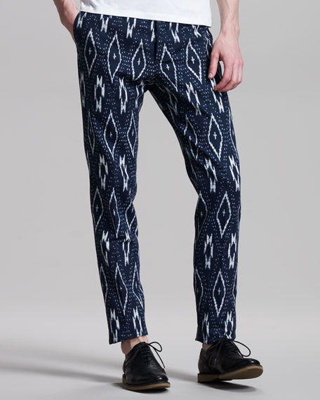 Ikat-Print Cotton-Linen Pants