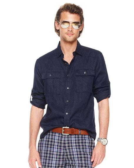 Linen Shirt, Navy