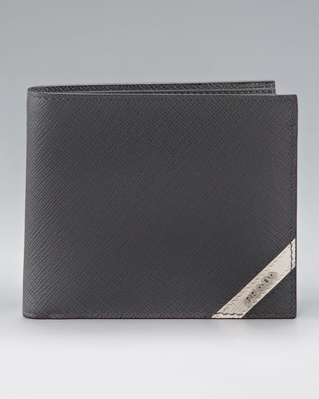 Saffiano Stripe Bi-fold Wallet, Gray/White