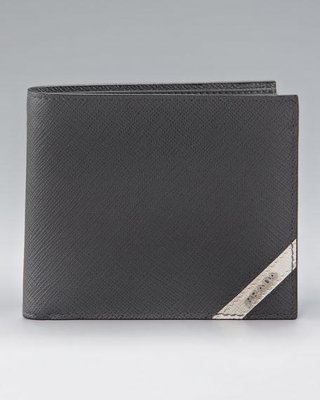Saffiano Stripe Bi-fold Wallet, Gray/White