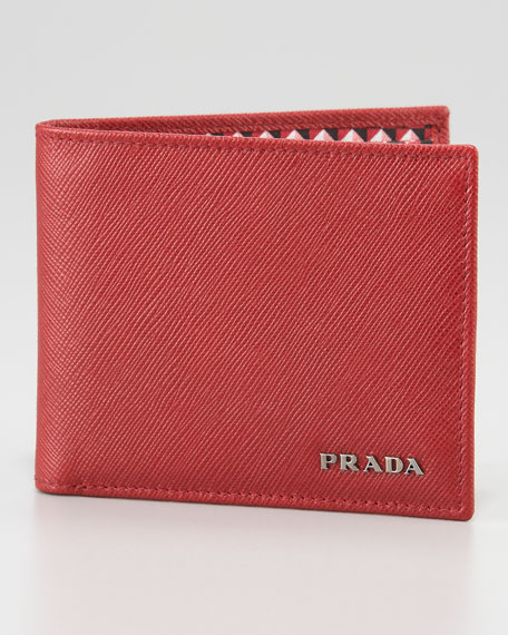 Saffiano Bifold Wallet, Red