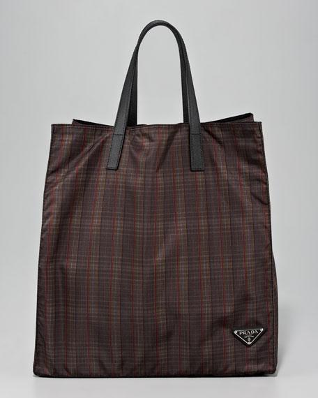 Plaid Nylon Tote Bag, Brown Plaid