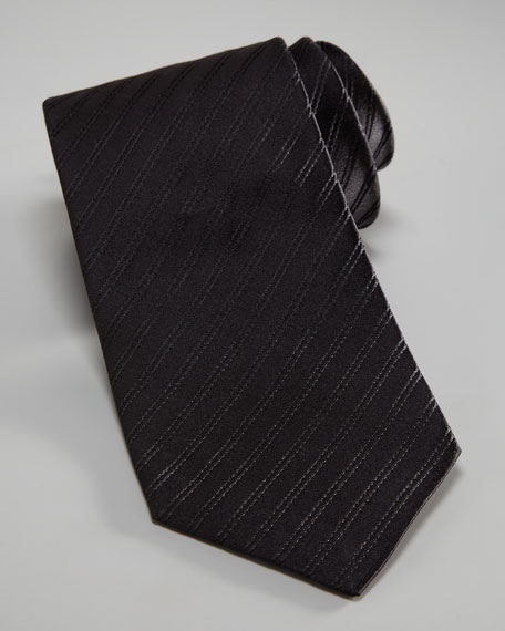 Tonal-Stripe Silk Tie, Black
