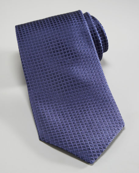 Micro-Grid Silk Tie, Lavender