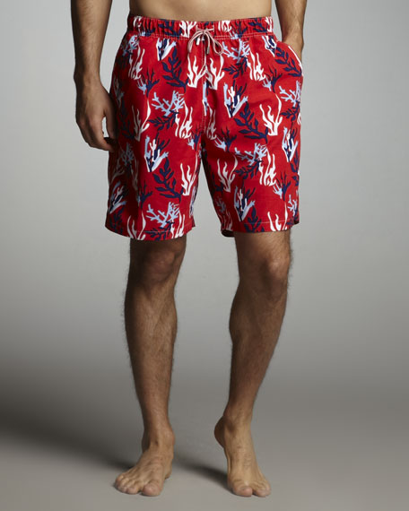 Coral-Print Swim Trunks