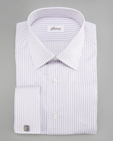 Brioni striped dress shirt purple white for Purple striped dress shirt