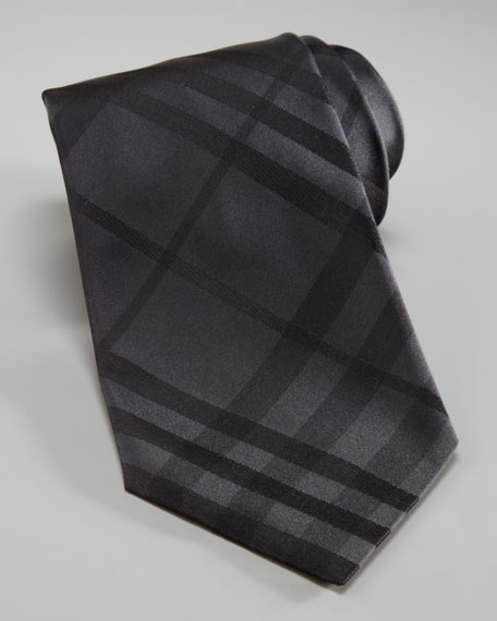 Tonal Checked Tie, Black