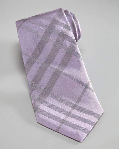 Tonal-Check Tie, Lavender