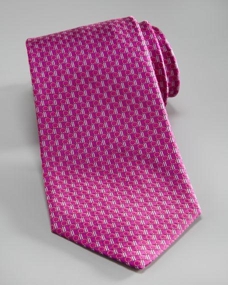 Gancini Silk Tie, Magenta