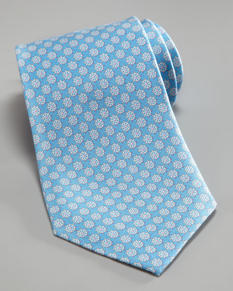 Nautical Wheel Tie, Light Blue