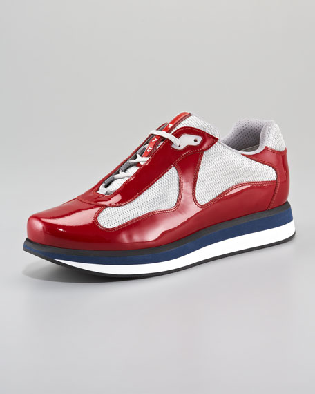 America's Cup Sneaker, Red/Silver