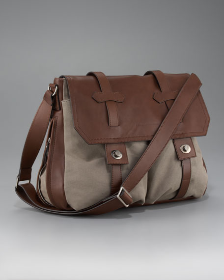 Leather-Canvas Messenger Bag