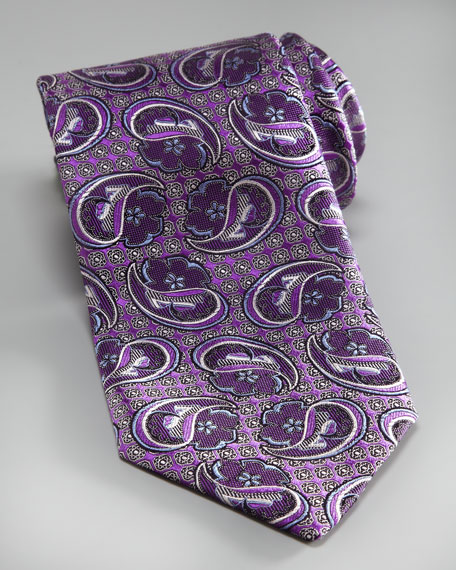Textured Paisley Silk Tie, Purple